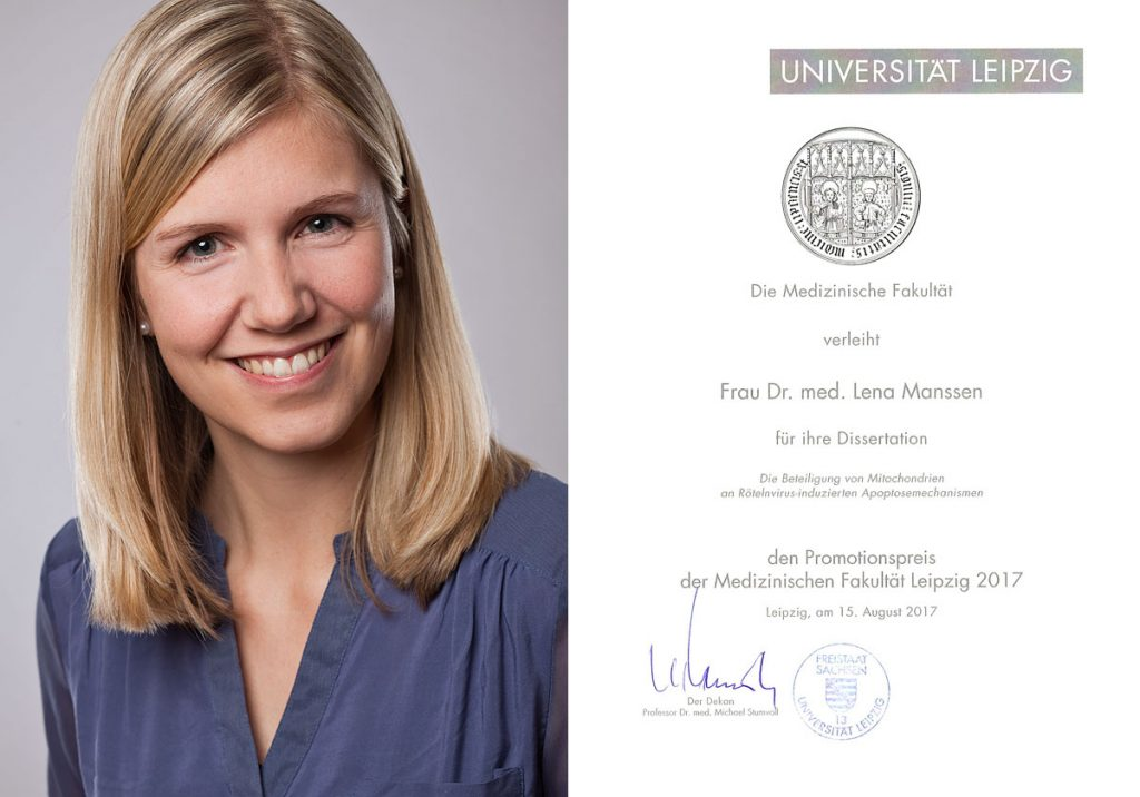 "Lena Manssen has received the ""Promotionspreis der Medizinischen Fakultät Leipzig"" – an award by the Medical Faculty of the University of Leipzig for her medical thesis. Congratulations!"